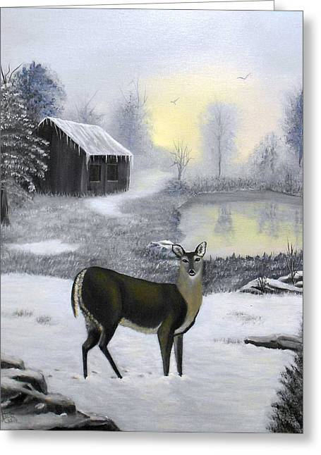 Winter Doe Greeting Card by Sheri Keith
