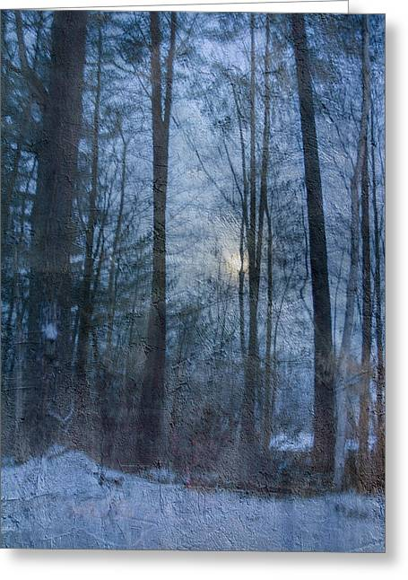Winter Early Morning Setting Moon Greeting Card