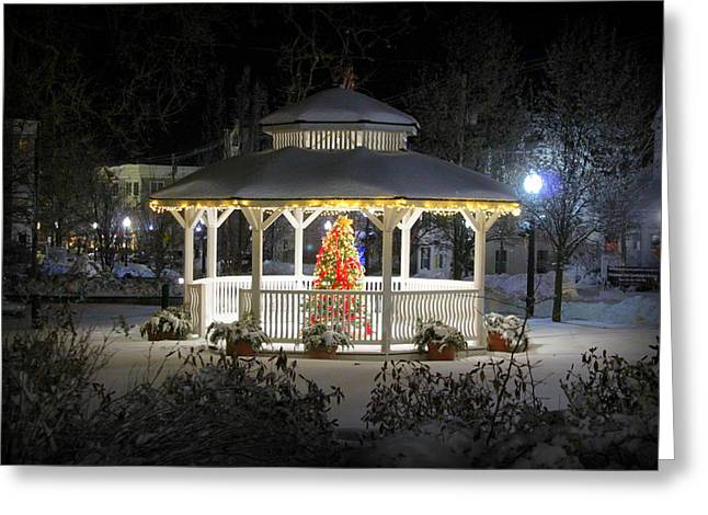Winter Evening Gazebo Greeting Card