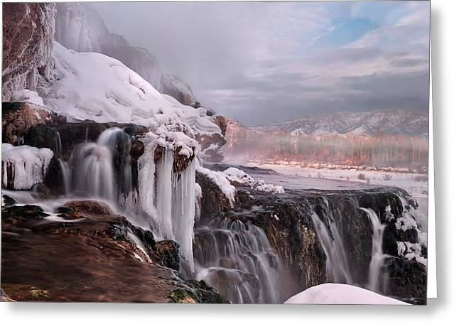 Winter Falls Greeting Card by Leland D Howard