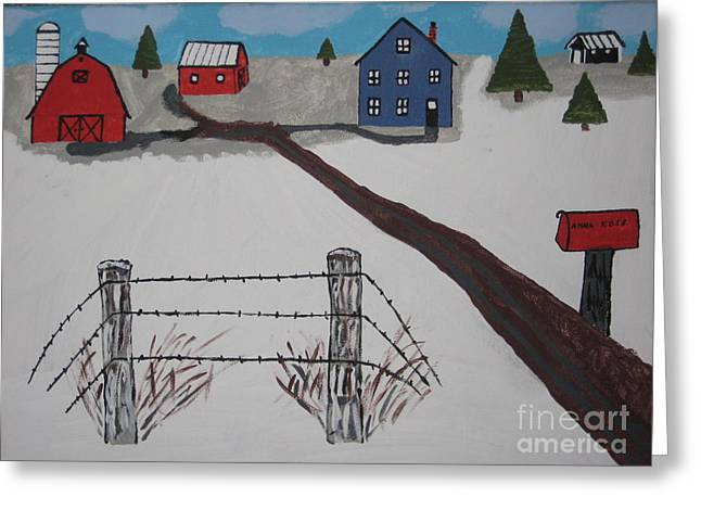 Greeting Card featuring the painting Winter Farm by Jeffrey Koss