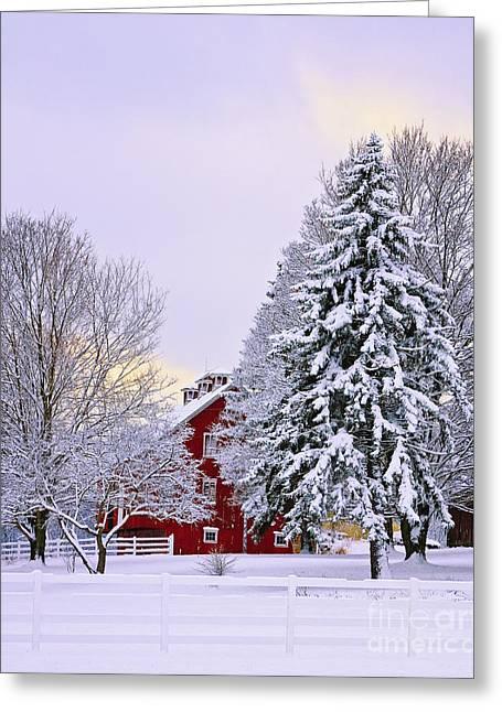 Winter Farm Scene Greeting Card by Timothy Flanigan