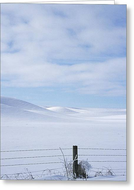 Winter Fenceline Greeting Card by Latah Trail Foundation