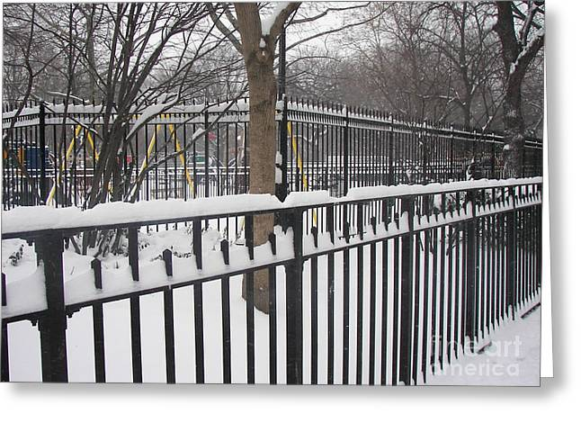 Winter Fences Greeting Card