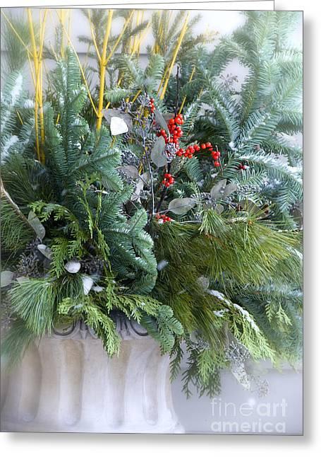 Winter Floral Arrangement Greeting Card by Birgit Tyrrell