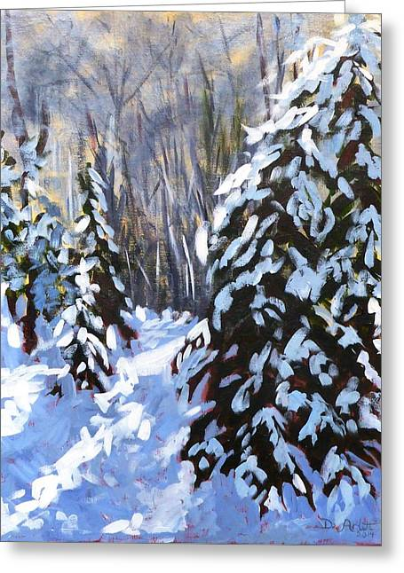 Winter Forest Walk Greeting Card by Diane Arlitt
