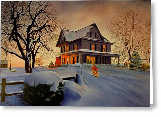 Winter Fun Greeting Card by Rick Fitzsimons