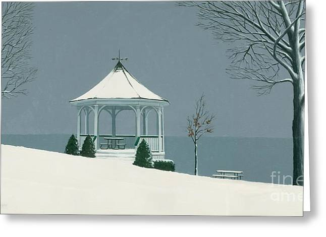 Winter Gazebo Greeting Card by Michael Swanson