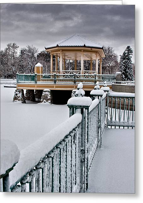 Greeting Card featuring the photograph Winter Gazebo by Steven Reed