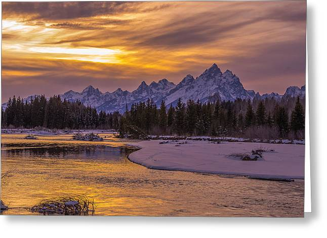 Winter Glow Over The Tetons Greeting Card by Yeates Photography