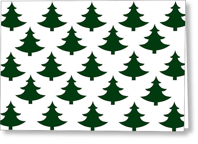 Winter Green Christmas Tree Greeting Card by Chastity Hoff