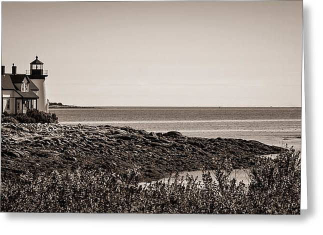 Greeting Card featuring the photograph Winter Harbor Lighthouse by Wayne Meyer