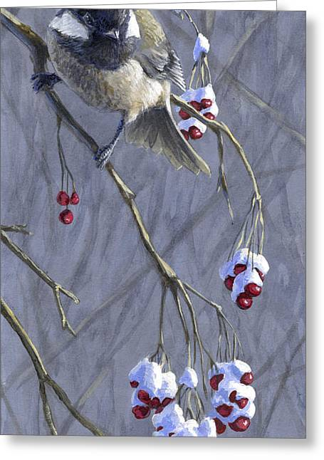 Winter Harvest 1 Chickadee Painting Greeting Card
