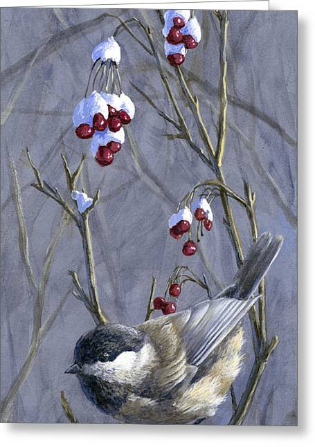 Winter Harvest 2 Chickadee Painting Greeting Card
