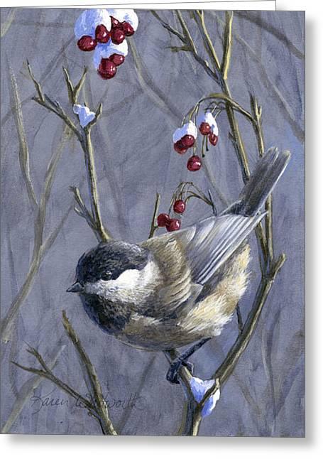 Winter Harvest 2 Chickadee Painting Greeting Card