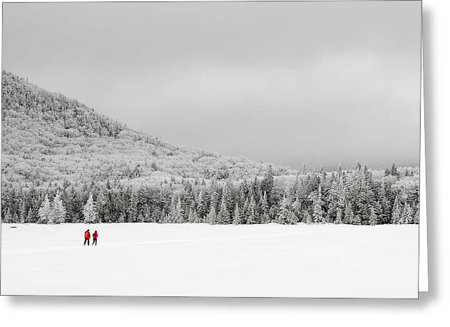 Winter Hikers On Lonesome Lake Greeting Card