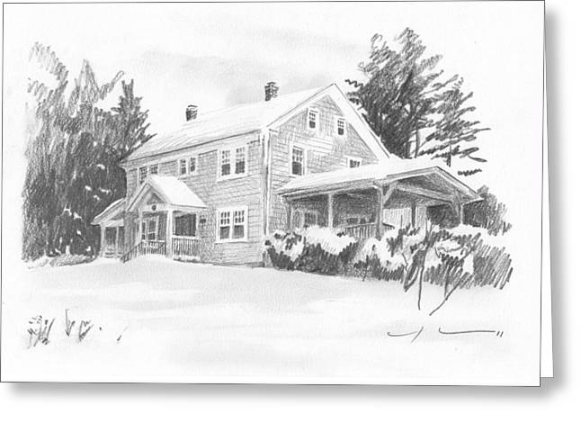 Winter House Pencil Portrait Greeting Card by Mike Theuer