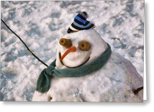 Winter - I'm Ready For My Closeup Greeting Card by Mike Savad