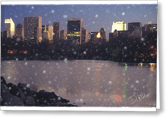 Greeting Card featuring the digital art Winter In Central Park by David Klaboe