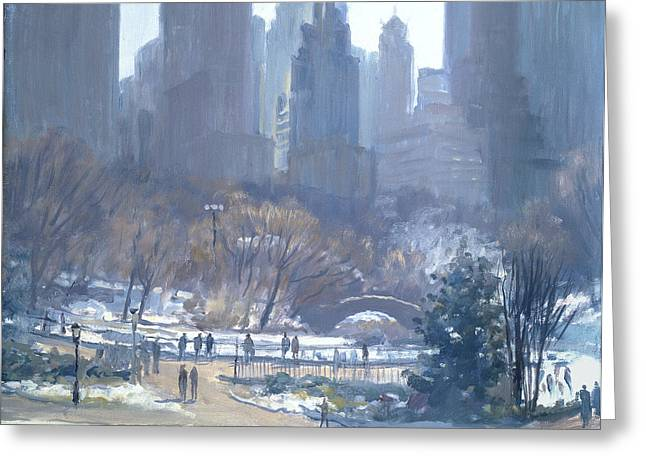Winter In Central Park, New York, 1997 Oil On Canvas Greeting Card by Julian Barrow