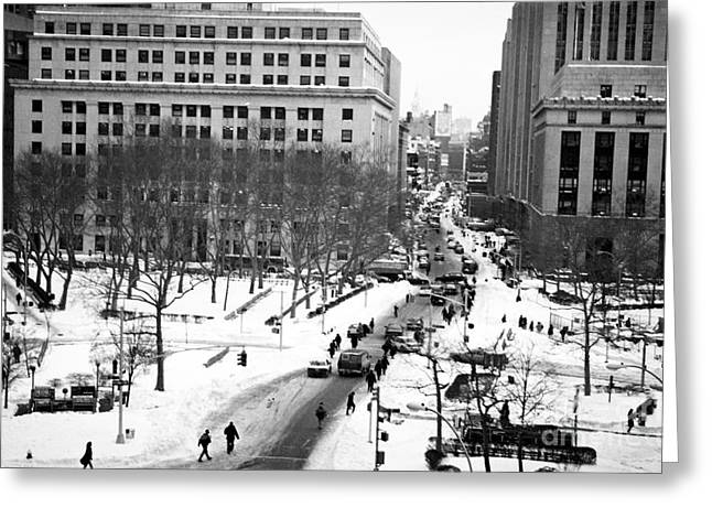 Winter In The City 1990s Greeting Card by John Rizzuto
