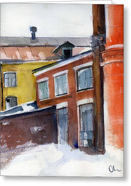 Winter In The City Greeting Card by Lelia Sorokina
