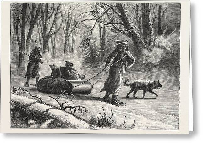 Winter In The Far West An Indian Sledge Journey Greeting Card by American School