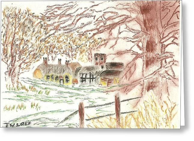 Winter In The Village Greeting Card