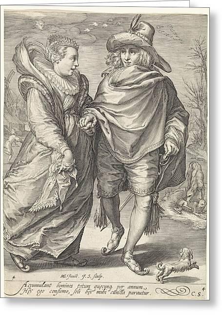 Winter, Jan Saenredam, Cornelius Schonaeus Greeting Card by Jan Saenredam And Cornelius Schonaeus