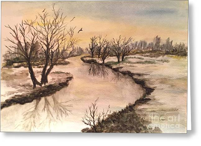Winter Lake Scene Greeting Card by Lucia Grilletto