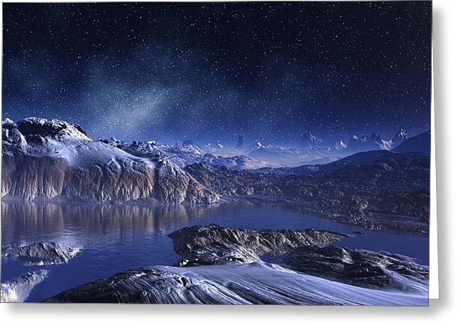 Winter Lake Snowy Night Greeting Card