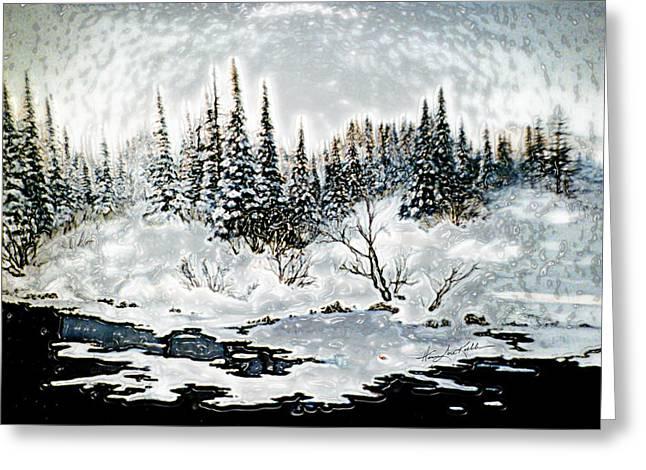 Winter Lake Sunset 2 Greeting Card