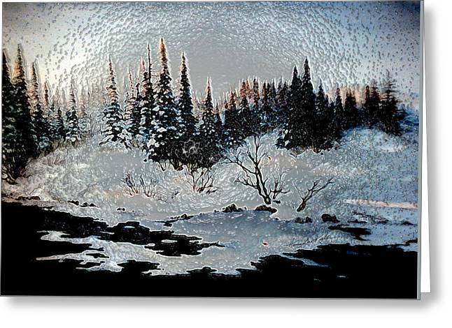 Winter Lake Sunset Greeting Card by Hanne Lore Koehler