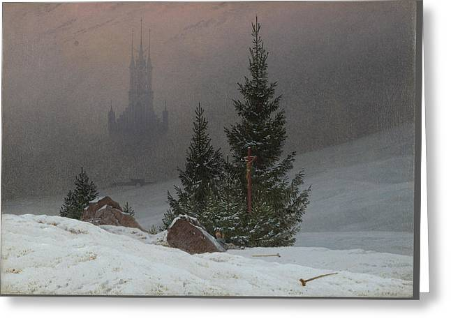 Winter Landscape Greeting Card by Caspar David Friedrich