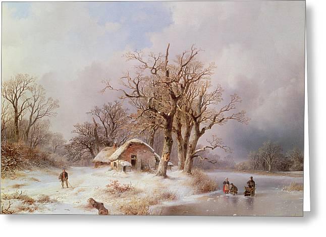 Winter Landscape Greeting Card by Remigius van Haanen