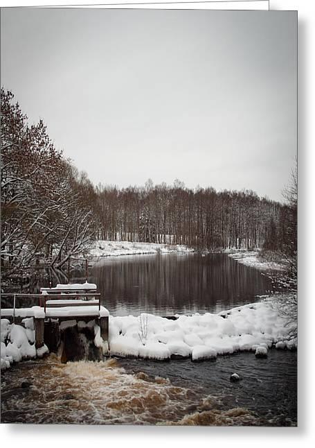 Winter Landscape Greeting Card by Robert Hellstrom