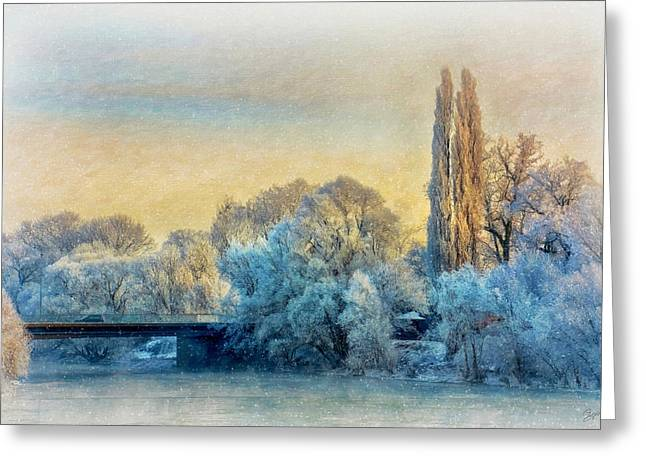 Winter Landscape With A Bridge Over The River Greeting Card by Gynt