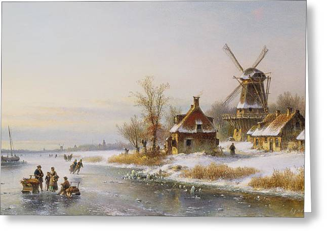 Winter Landscape With A Windmill, 19th Century Greeting Card