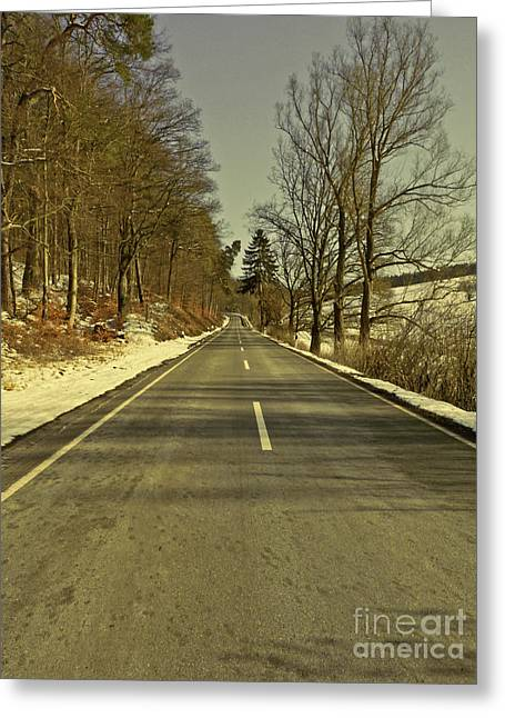 Winter-landscape With Country Road Greeting Card