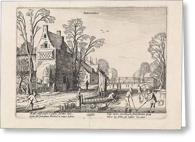 Winter Landscape With Flask Players On The Ice January Greeting Card