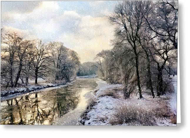 Winter Landscape With River Greeting Card by Gynt