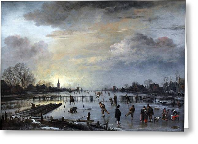 Greeting Card featuring the painting Winter Landscape With Skaters by Gianfranco Weiss