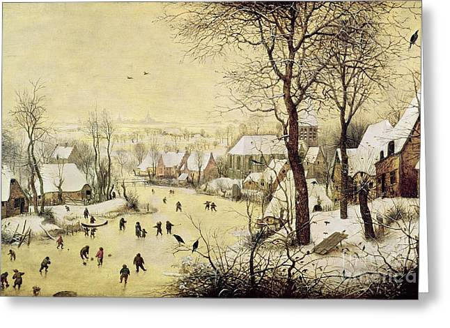 Winter Landscape With Skaters And A Bird Trap Greeting Card