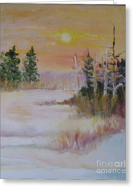Greeting Card featuring the painting Winter Light by Julie Todd-Cundiff