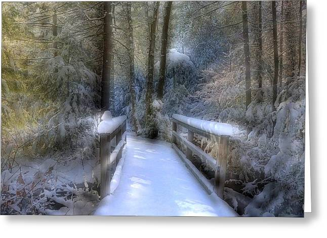 Winter Light On Bridge Greeting Card