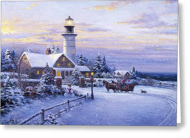 Winter Lighthouse Greeting Card by Ghambaro