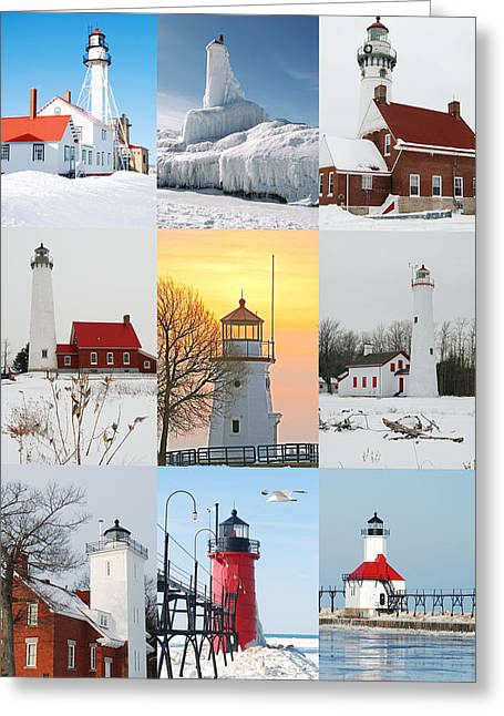 Winter Lighthouses In Michigan Greeting Card by Michael Peychich