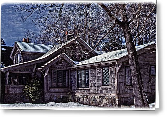 Greeting Card featuring the digital art Winter Lodge by Richard Farrington