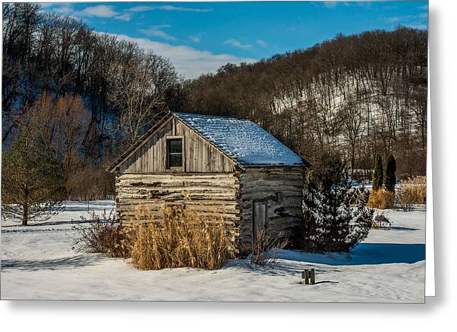 Winter Logcabin Greeting Card by Paul Freidlund