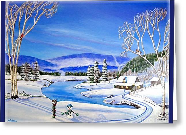 Winter Magic At A Mountain Getaway Greeting Card by Kimberlee Baxter